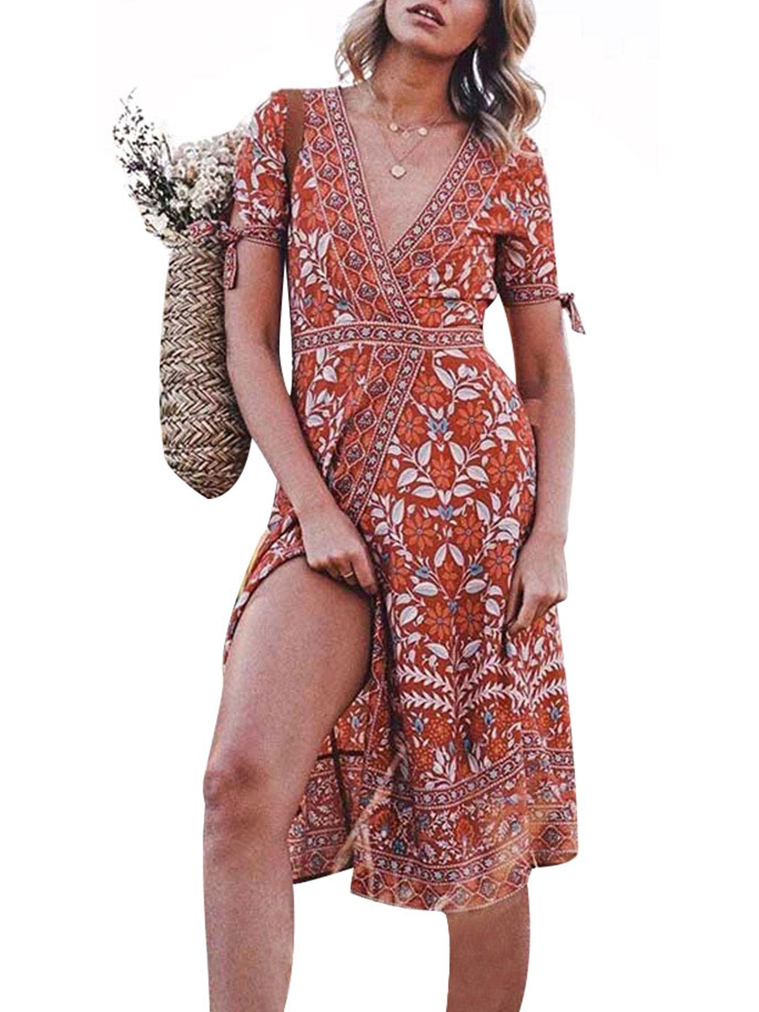 Dress Sundress Tunic Short Sleeve Summer Midi Beach Holiday Party Boho Printed