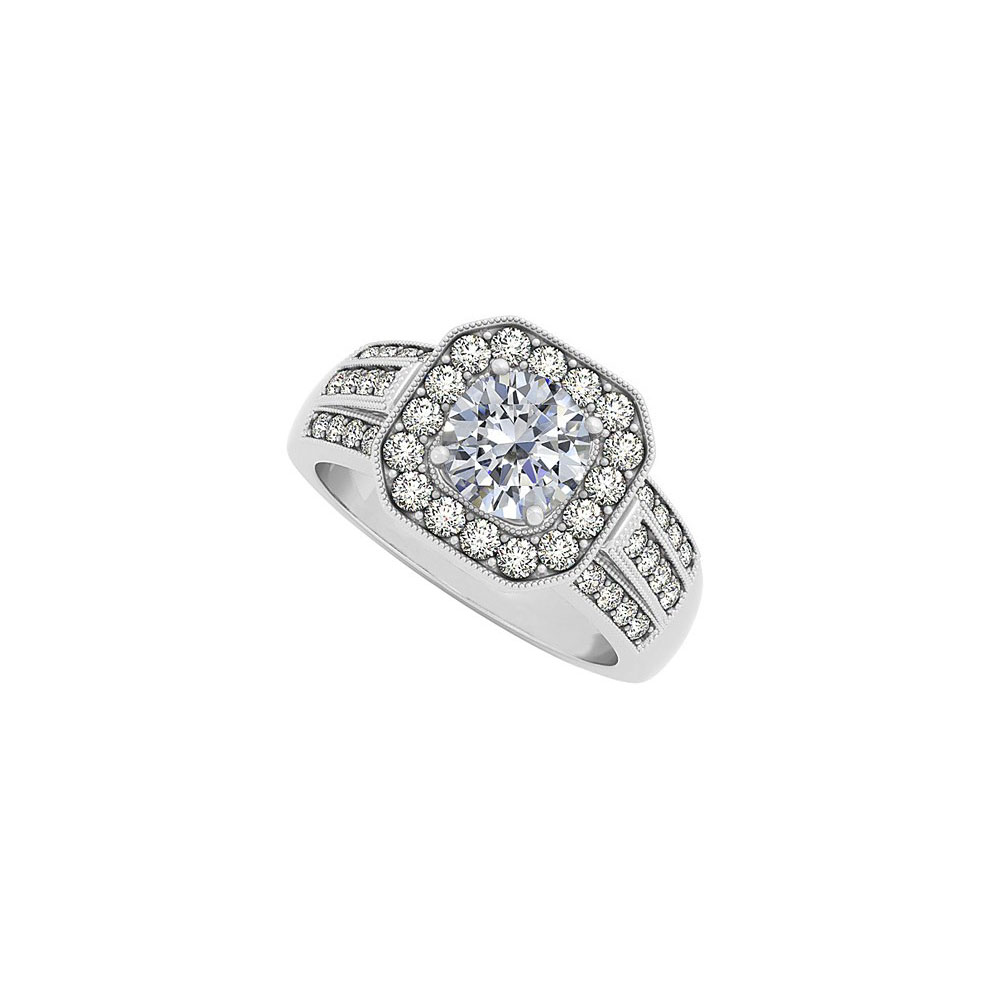 Jewelry Three Rows April Birthstone Cubic Zirconia Square Halo Fashion Ring - image 1 de 1