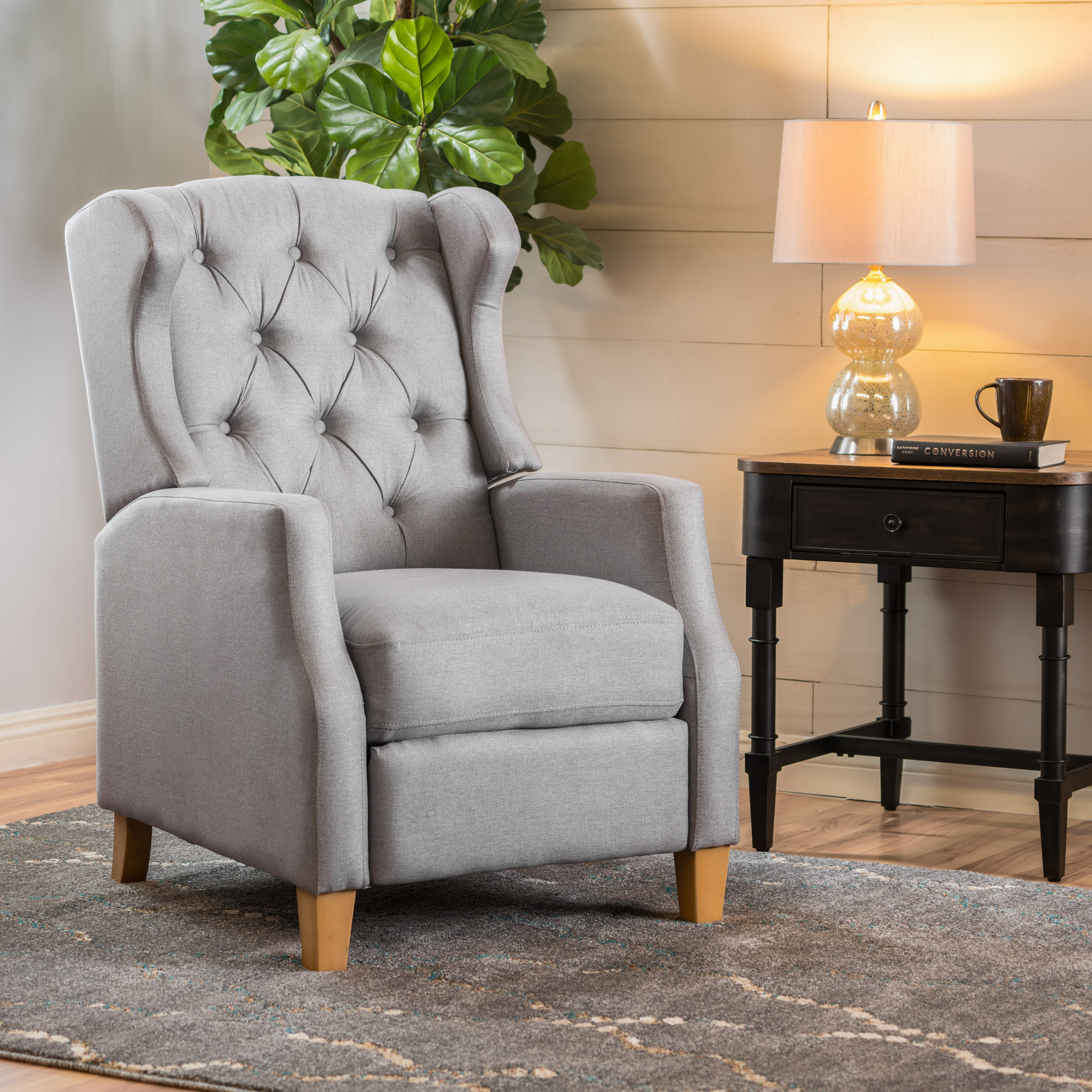Noble House Cosa Tufted Fabric Wingback Recliner, Light Grey