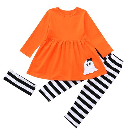 Mosunx Toddler Baby Girls Ghost Dresses Striped Pants Halloween Costume Outfits Set
