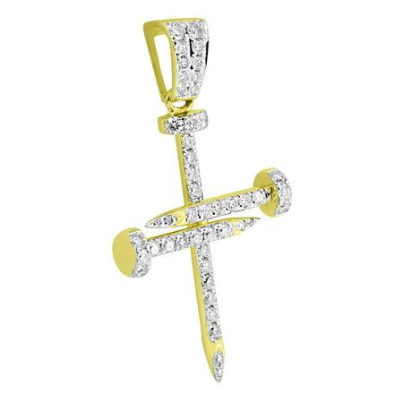 14k Solid Yellow Gold Nail Cross Pendant Genuine Diamonds 0.62 Carats Custom High End ()