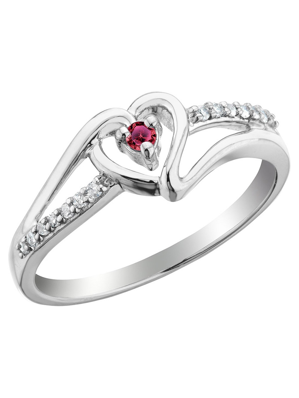 Ruby Heart Promise Ring with Diamonds in Sterling Silver