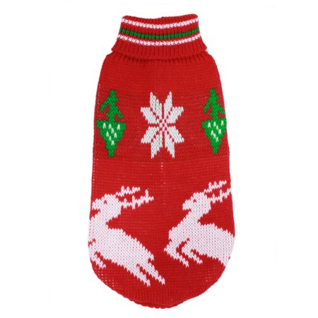 Unique Bargains Winter Pet Dog Doggy Knit Turtleneck Apparel Coat Sweater Green Red White XS - Dobby Dog Halloween