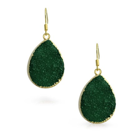 Boho Fashion Pear Teardrop Gemstone Organic Dark Green Druzy Dangle Earrings For Women For Teen 14K Gold Plated Metal - image 1 of 3