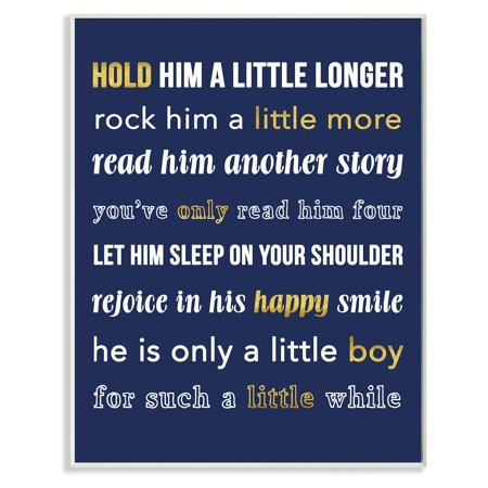 The Stupell Home Decor Collection Hold Him A Little Longer Navy Wall Plaque - Navy Peace Sign
