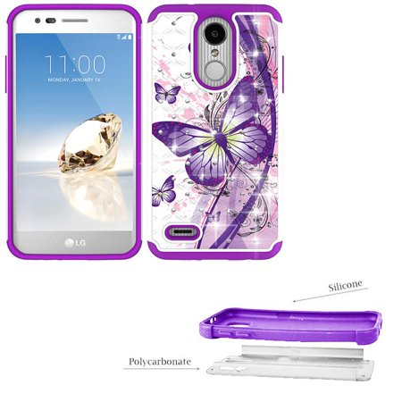 Phone Case for LG Rebel 4 Prepaid, Rebel 3, Phoenix 4 3, Zone 4, Aristo 3, Aristo 2 Plus, Fortune 2, Risio 2, Tribute-Empire, Tribute Dynasty Crystal Cover (Crystal Butterfly with Purple) (Phone Case For Lg 3)