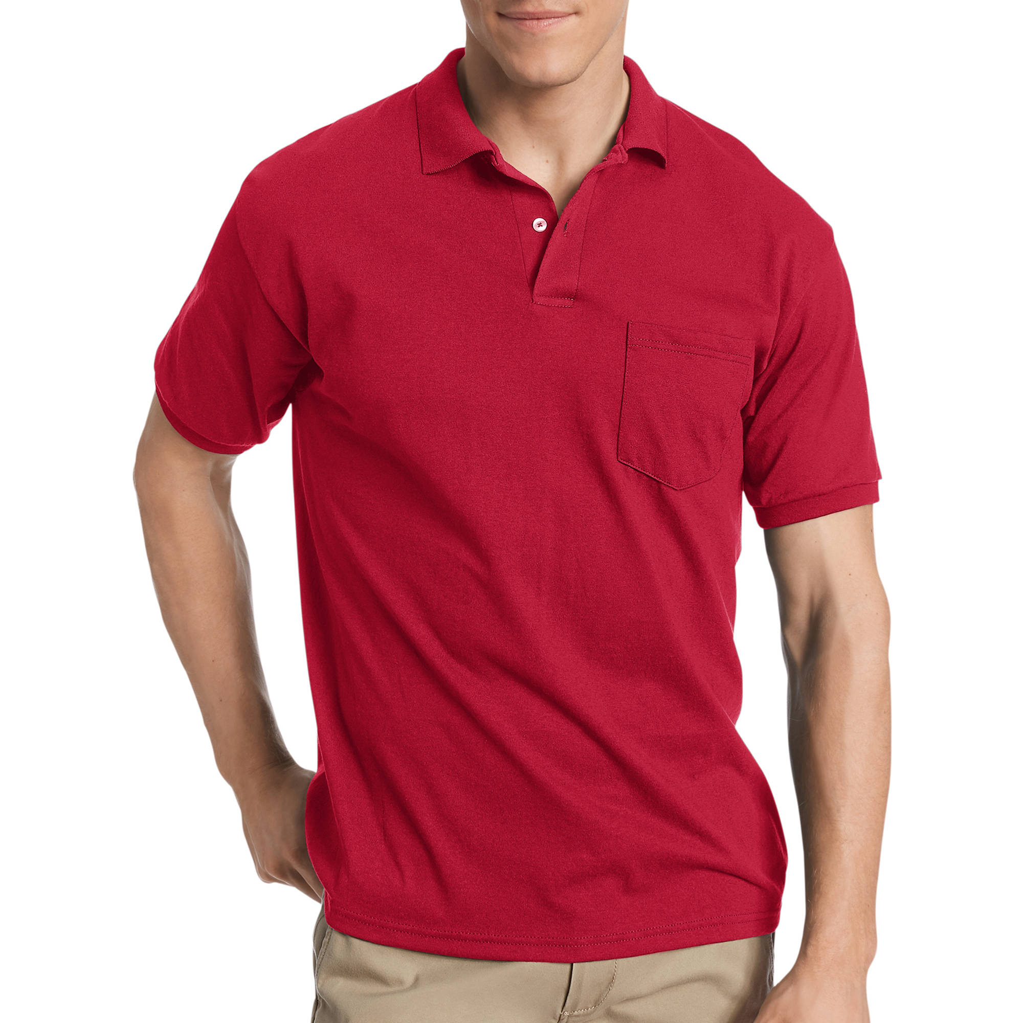 Hanes Big Men's Comfortblend EcoSmart Jersey Polo with Pocket