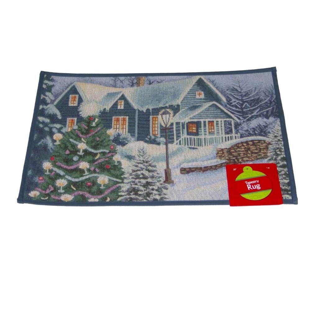 Christmas Tapestry Rug Snowy Lodge Accent Throw Rug No Skid Mat 19x27