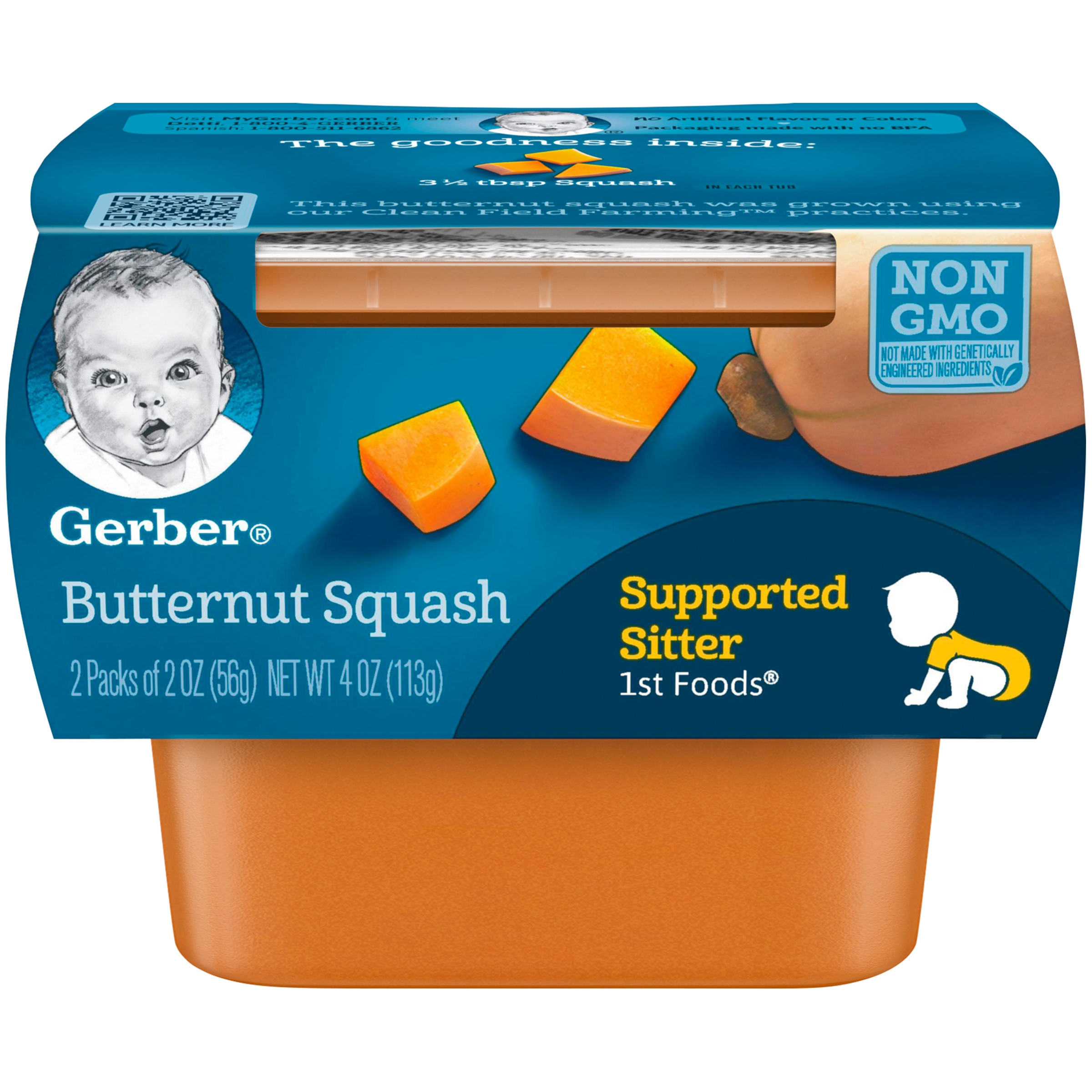 Gerber 1st Foods Butternut Squash Baby Food, 4 oz. Sleeve (Pack of 8)