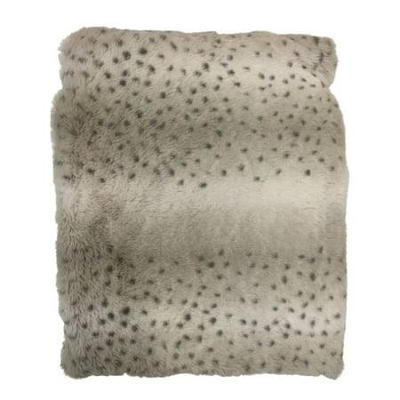 Cuddle Duds Faux Fur Snow Leopard Plush Throw Blanket, 50