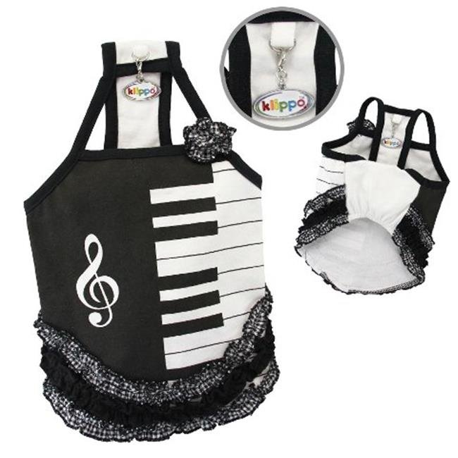 Klippo Pet KDR058MZ Adorable Piano Dress With Ruffles - Medium