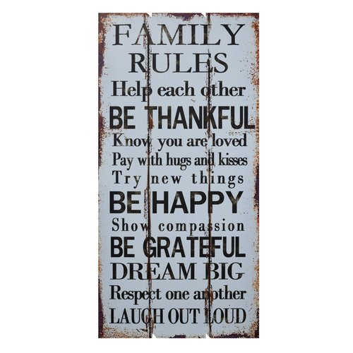 August Grove Worthwhile Piece Wooden Family Rules Wall D cor