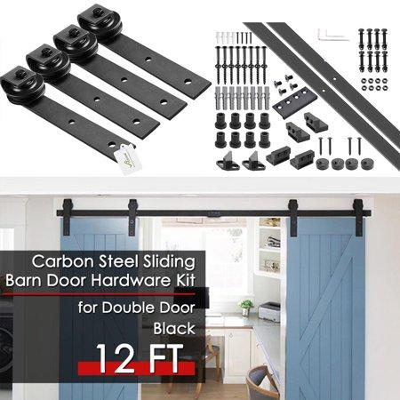 YesHom 12ft Double Barn Wood Door Rustic Sliding Hardware Roller Track Set with 4x Door Stoppers Black ()