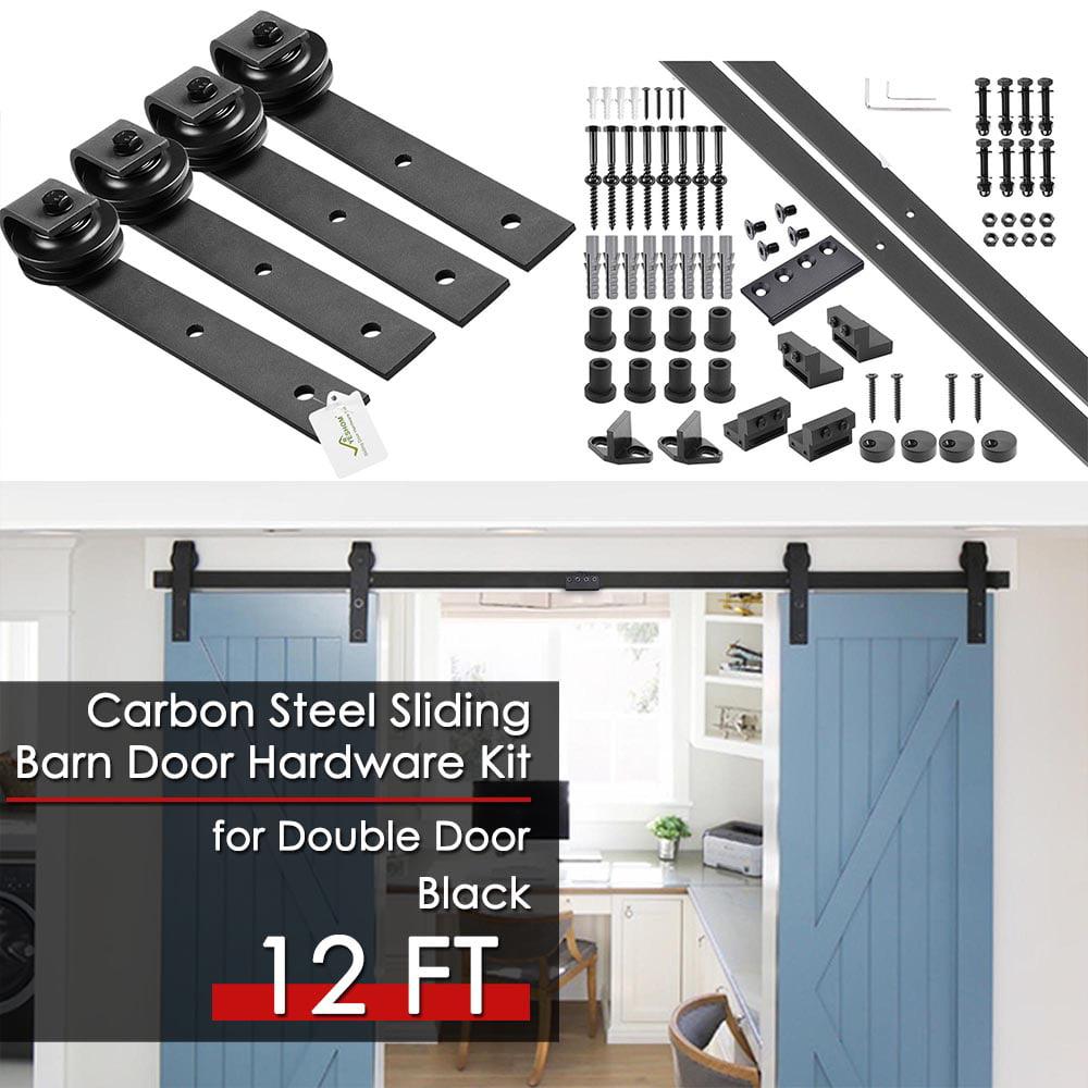 YesHom 12ft Double Barn Wood Door Rustic Sliding Hardware Roller Track Set with 4x Door Stoppers Black