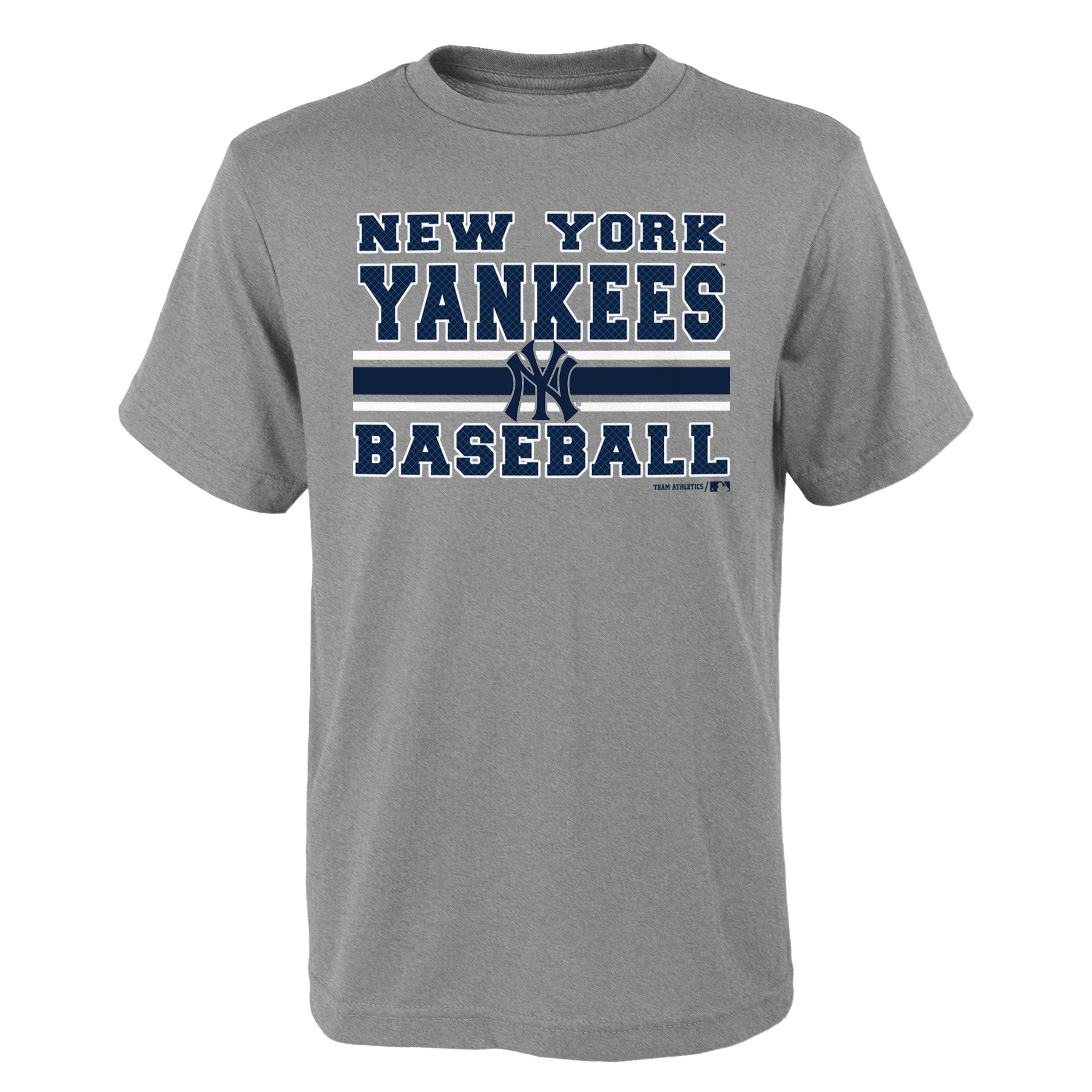 MLB New York YANKEES TEE Short Sleeve Boys OPP 90% Cotton 10% Polyester Gray Team Tee 4-18