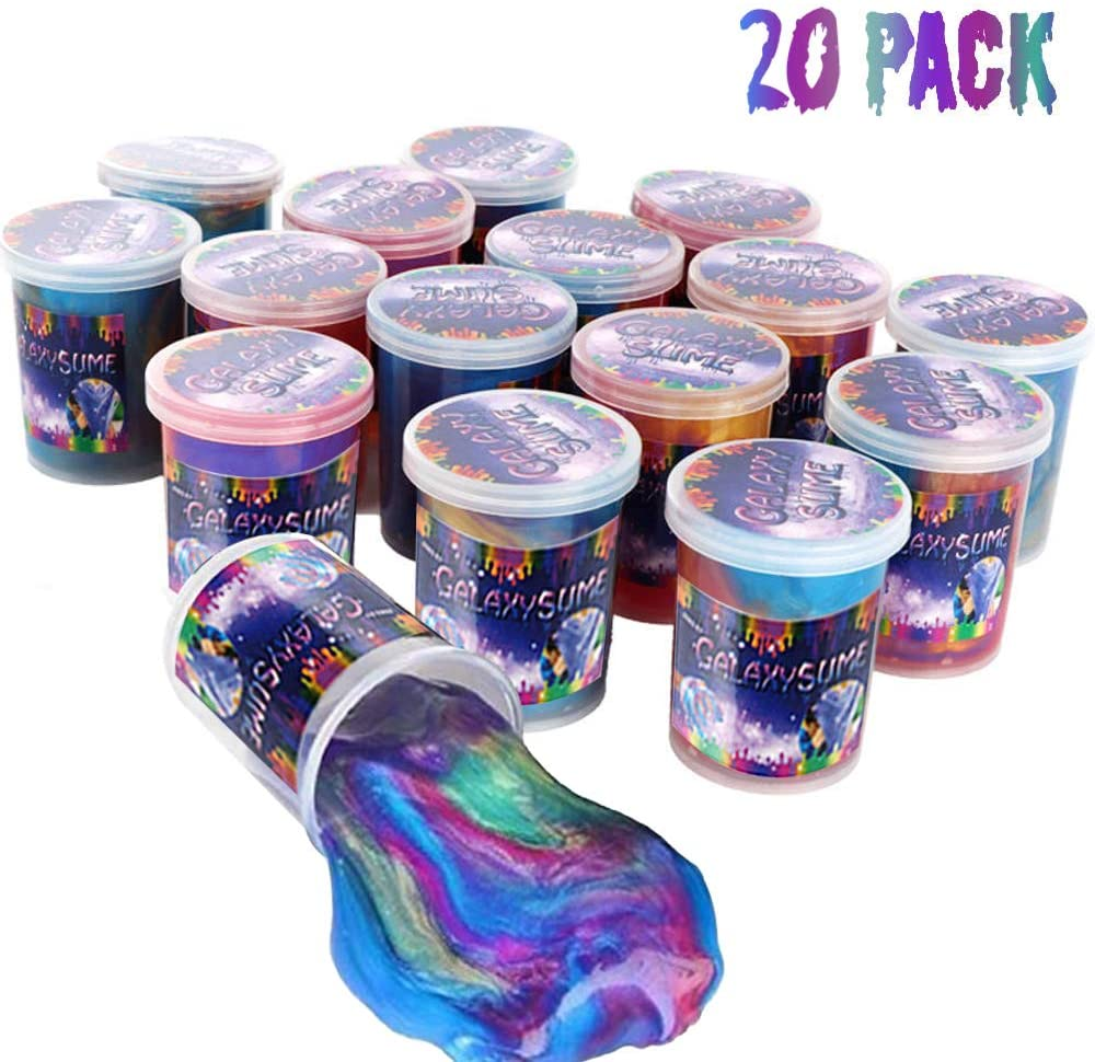 Boys Stress Relief Girls 20Pack Colorful Sludgy Gooey Fidget Kit for Sensory and Tactile Stimulation EASYCITY Marbled Galaxy Slime Kids Prize Educational Game Party Favor