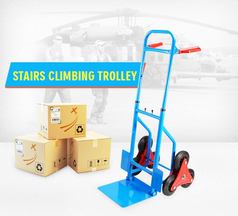 Qiilu Hand Sack Cart 200Kg Heay Duty 6 Wheel Sack Truck Hand Truck Barrow Trolley Stair... by