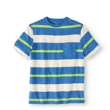 Boys' Short Sleeve Stripe Crewneck Pocket Tee - Clearance Boys