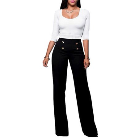 Women High Waist Flared Wide Leg Palazzo OL Career Button Long Trousers Pants
