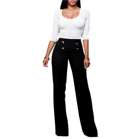 Black Straight Leg Trousers - Women High Waist Flared Wide Leg Palazzo OL Career Button Long Trousers Pants