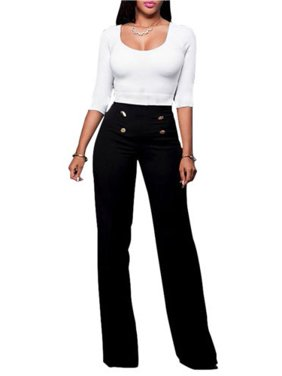 f06ac83758a Product Image Women High Waist Flared Wide Leg Palazzo OL Career Button  Long Trousers Pants