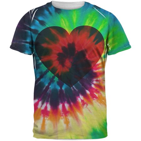 (Valentine's Day Heart Tie Dye All Over Adult T-Shirt)