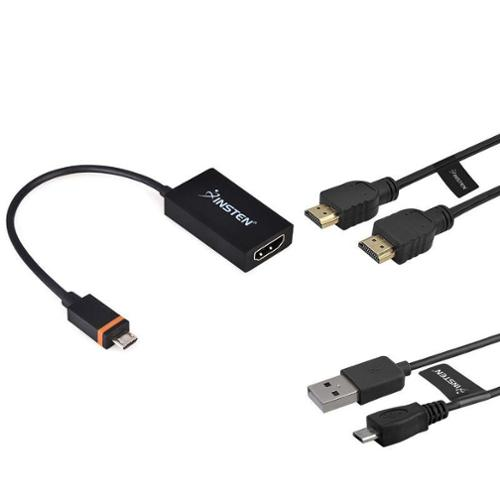 Insten Video Kit Micro USB SlimPort+HDMI Cable+Micro USB Cable For LG G3 G2 G Flex Pro 2 Nexus 4 5 / Amazon Fire HD 2014