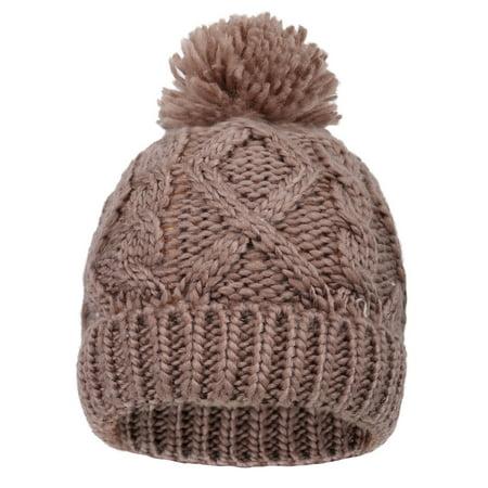 - Arctic Paw Kids' Chunky Knit Beanie with Yarn Pompom, Khaki with Fleece