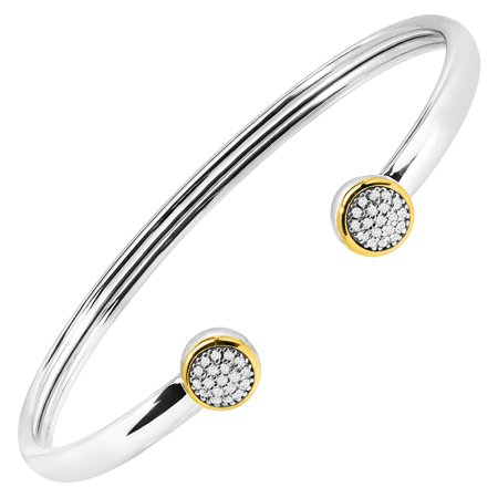 1/5 ct Diamond Circle Cuff Bracelet in Sterling Silver & 14kt Gold