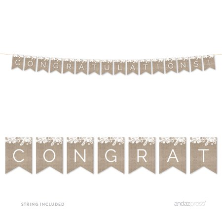 - Congratulations! Burlap Lace Wedding Hanging Pennant Party Banner with String