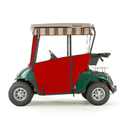 Red Golf Cart - EZGO RXV Golf Cart PRO-TOURING Sunbrella Track Enclosure - Red