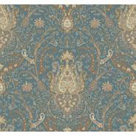 Waverly Classics Byzance Wallpaper, Tea/Cocoa/Milk Chocolate/Steel Blue/White Asparagus