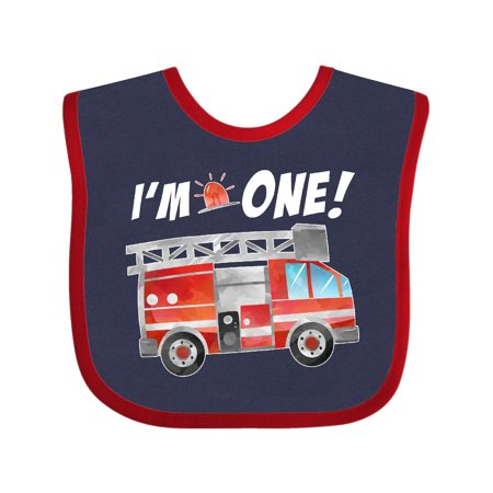 Inktastic I'm 1 Fire Truck 1st Birthday Infant Bib Unisex Navy and Red
