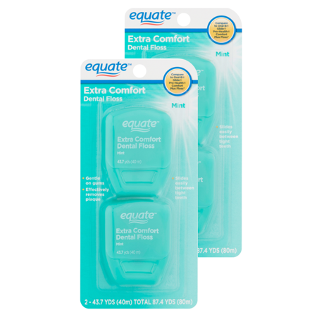 (2 pack) Equate Extra Comfort Mint Dental Floss, 40 M, 2 Count (Compare to Oral-B Glide Pro-Health Comfort Plus Mint Floss) (Dental Floss Glide Mint)