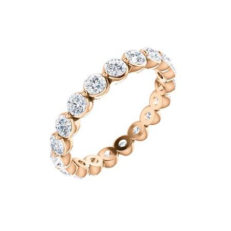 14k Rose Gold 1 1/6 Ct Diamond Anniversary Wedding Eternity Band - Size 4