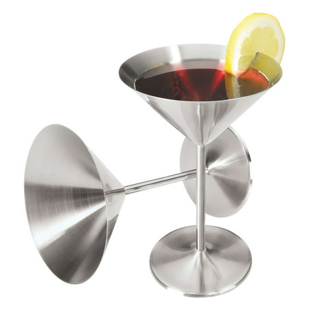 Oggi Stainless Steel Martini Glasses (Set of 2)](Orange Martini Glasses)