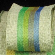 """Colorful Striped Surprise Green Wired Burlap Craft Ribbon 1.5"""" x 40 Yards"""