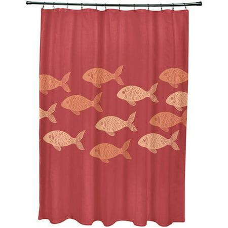 Simply Daisy 71 X 74 Fish Line Animal Print Shower Curtain