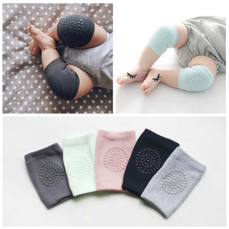 3 Pairs Unisex Baby Infant Toddler Knee Pads for Crawling Soft Elastic Knee Elbow Brace Pads Cap Anti-slip Crawling Safety Protector Cushion Leg Sleeve Warmers Grey Color by
