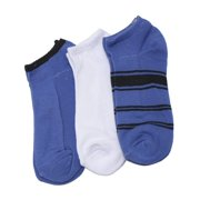 Girls White Purple Black Stripe 3 Pair Pack Low Cut Ankle Socks 9-11