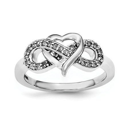 925 Sterling Silver Infinity Diamond Anniversary Ring for Women Size 6 (0.16ct, H-SI2)](Silver Diamond)