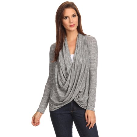 Women's Long Sleeve Metallic Criss Cross Cardigan Athleisure Small to 3XL Made in