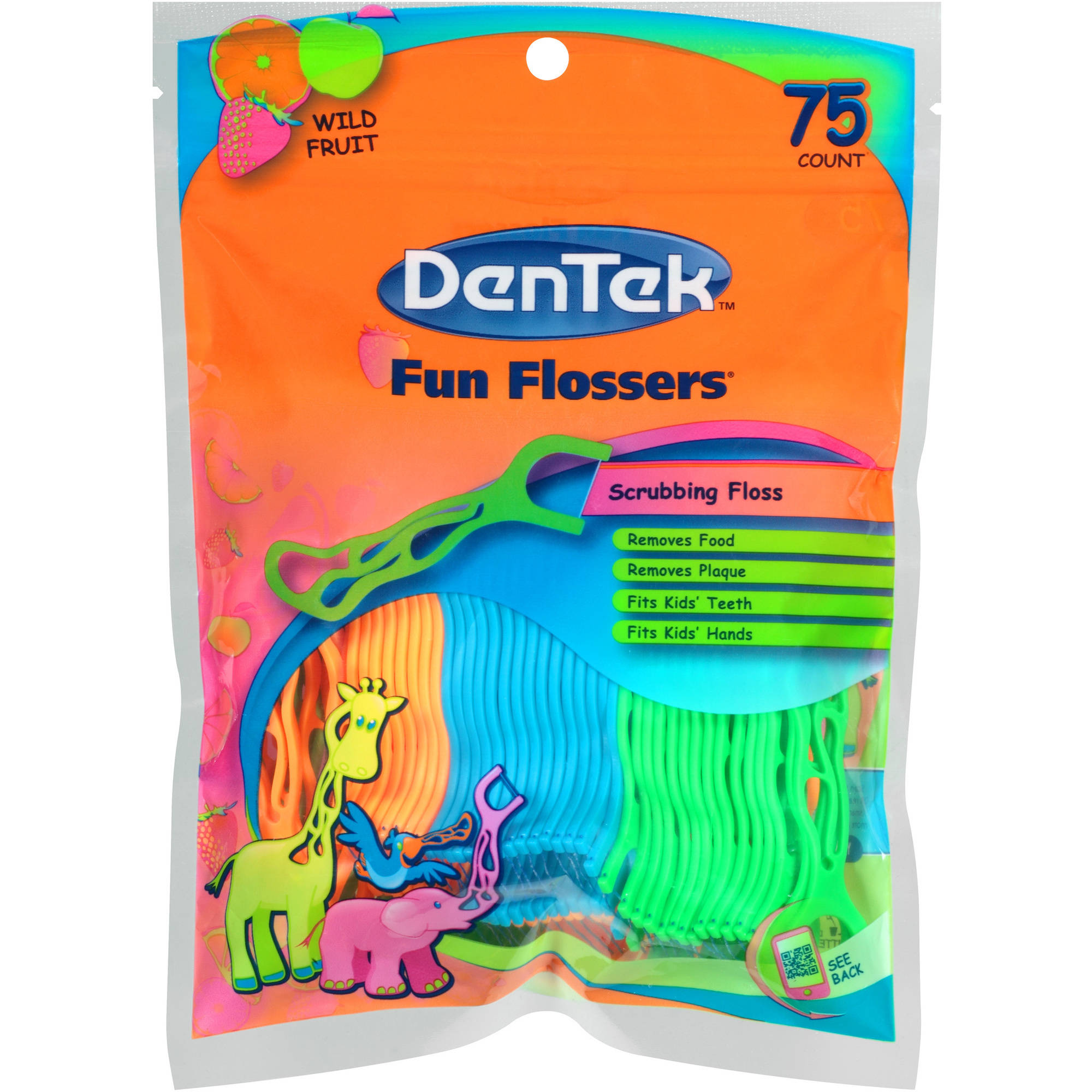 Dentek Fun Flossers Wild Fruit Floss Picks, 75 count