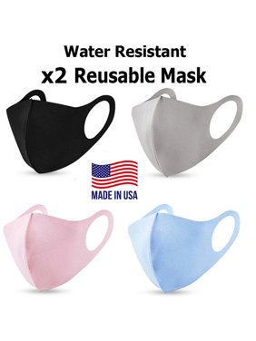(2 Pack) Reusable Washable Polyester Blend Face Covering Mask Water Resistant For Adults