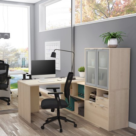 Bestar i3 Plus L-Desk with Frosted Glass Door -