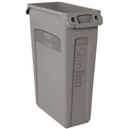 Rubbermaid Commercial Products FG354060GRAY Venting Slim Jim Waste Container, Gray ()