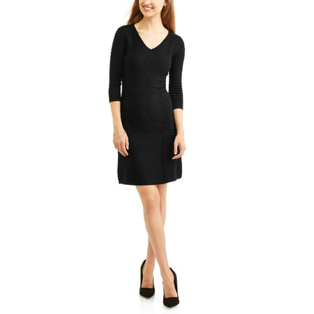 allison brittney cable panel v-neck fit and flare dress (Egyptian Dresses Online)