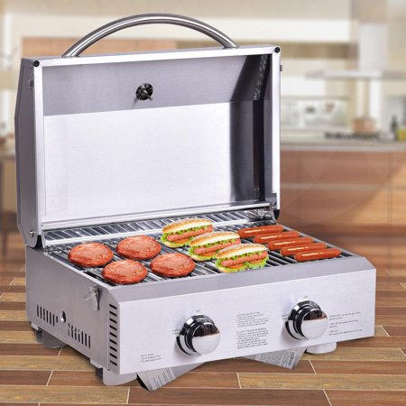 Propane Steam Table - Gymax 2 Burner Portable BBQ Table Top Propane Gas Grill Stainless Steel