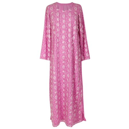 Hijaz Pink Nightgown Abaya Dress with White Floral Embroidery and Scarf Included