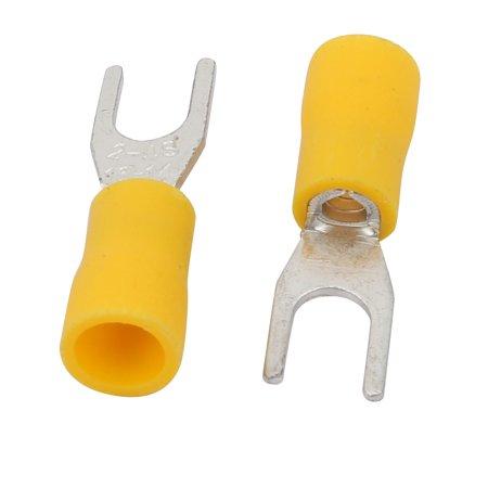 10Pcs AWG16-14 U Shape SV2-4S Insulated Spade Wire Crimp Terminal Yellow - image 1 de 3
